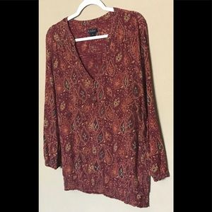 LUCKY BRAND PURPLE TOP BLOUSE LONG SLEEVES Sz M